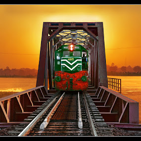 Train on Mehran Bridge by Sami Ur Rahman - Transportation Trains