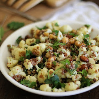 Roasted Cauliflower And Chickpea Quinoa Salad With Jalapeño-lime Dressing
