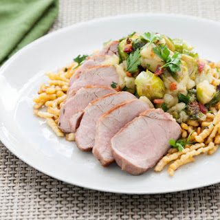 Pan-Roasted Pork Tenderloin with Brown Butter-Spaetzle, Roasted Brussels Sprouts & Granny Smith Apple.