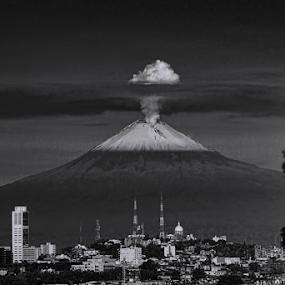 Puebla City and Popo by Cristobal Garciaferro Rubio - Black & White Landscapes ( volcano, popo, puebla, popocatepetl, snowy volcano, city )