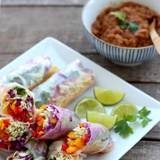 Rainbow Vegetable Rolls & Spicy Peanut Sauce Recipe