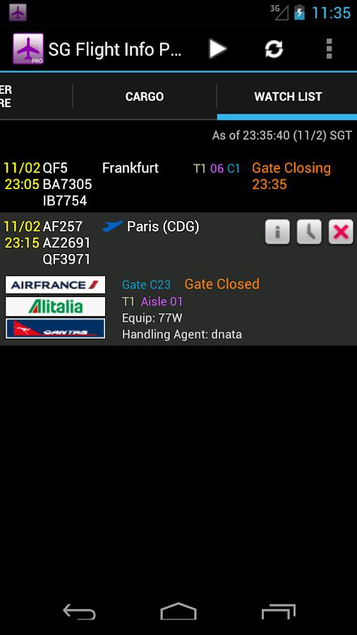 Singapore Flight Info Pro - screenshot
