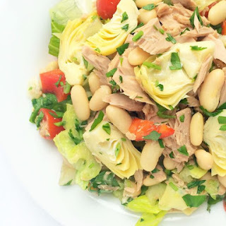 Italian Chopped Salad with Tuna, Artichokes & Cannellini Beans.