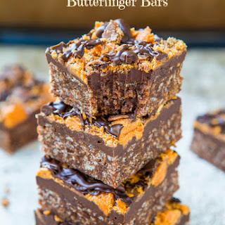 Chewy Chocolate Peanut Butter Butterfinger Bars (gluten-free).