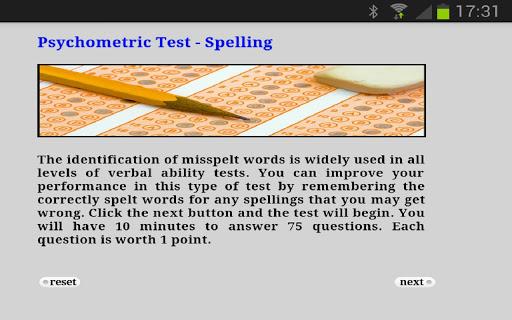 Psychometric Test Spelling