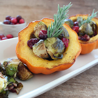 Cranberry Brussels Sprout Stuffed Acorn Squash