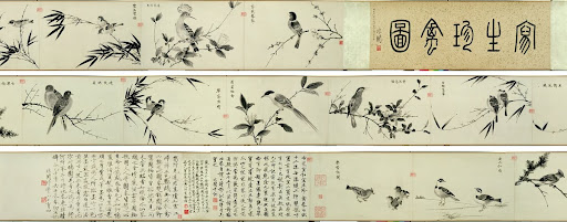 Copying the Sketching of Rare Birds by Emperor Huizong (handscroll)