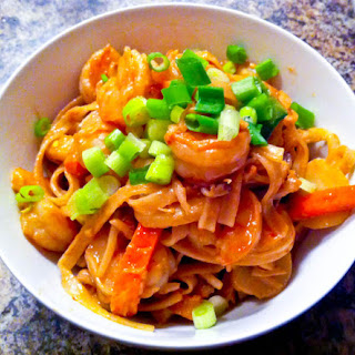 Spicy Peanut Butter Noodles With Shrimp.