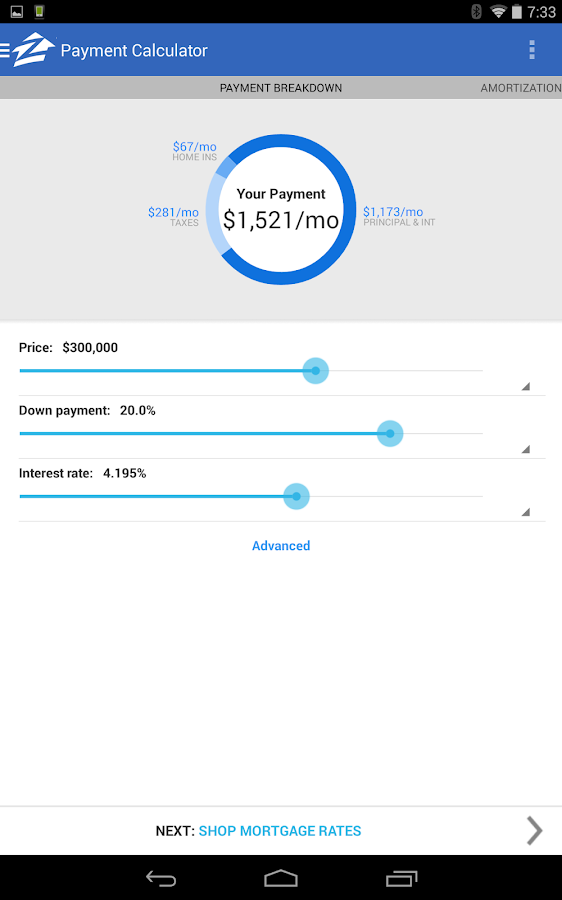 Zillow Mortgage Calculator - screenshot