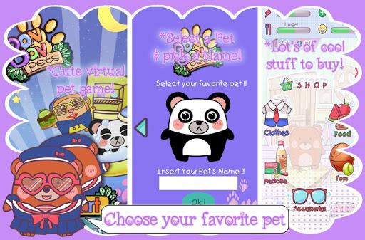 虛擬的BonBon寵物 護理:飼料,玩,洗,服裝和迷你遊戲