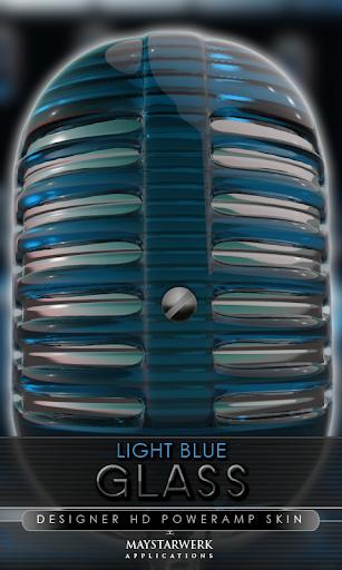 ガラス poweramp 皮膚ライトブルー