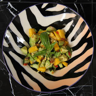 Avocado and Mango Salad with Pistachio and Curry.