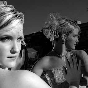 What? by Tony Moore - Black & White Portraits & People ( glamour, reflection, bridal, nc, dress, bw, glass,  )