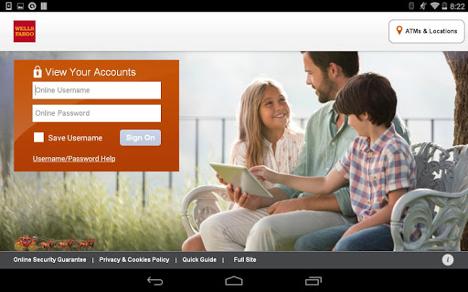 Wells Fargo for Tablet Screenshot