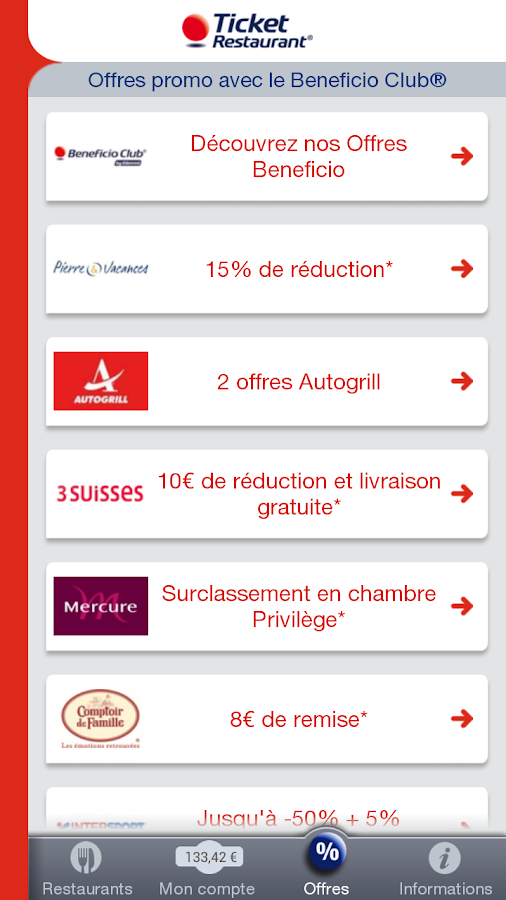 Ticket Restaurant® France – Capture d'écran