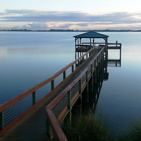 sunrise on the river  by Holly Herrmann - Landscapes Waterscapes ( florida, sunrise, dock, river,  )