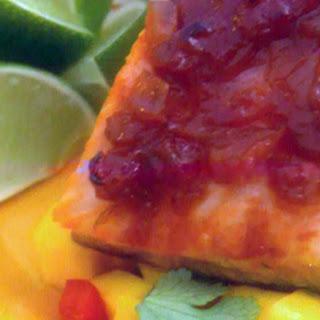 Caribbean Salmon with Guava Barbecue Sauce and Mango Veggie Salsa Recipe