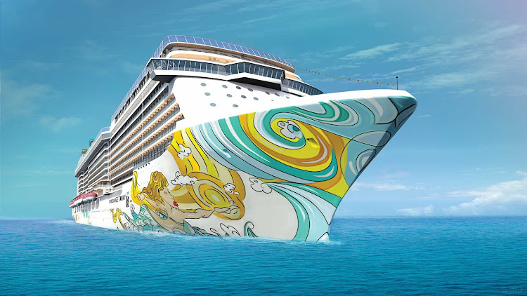 "Miami artist David ""Lebo"" Le Batard created the colorful design for Norwegian Getaway's hull."
