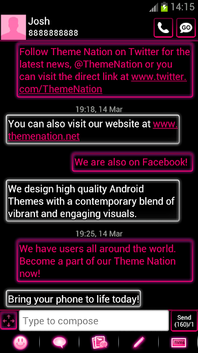 GO SMS Pro Theme Pink Neon