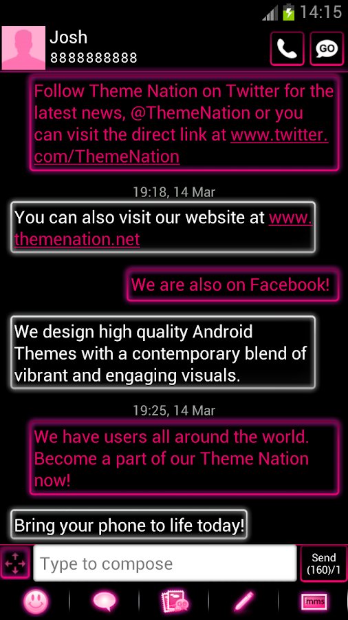GO SMS Pro Theme Pink Neon - screenshot