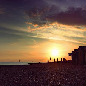 Beach houses by Haavard Lien - Landscapes Beaches ( houses, sunset, ocean, pebbles, beach )