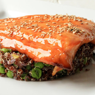 Lacquered Salmon with Soy and Sesame.