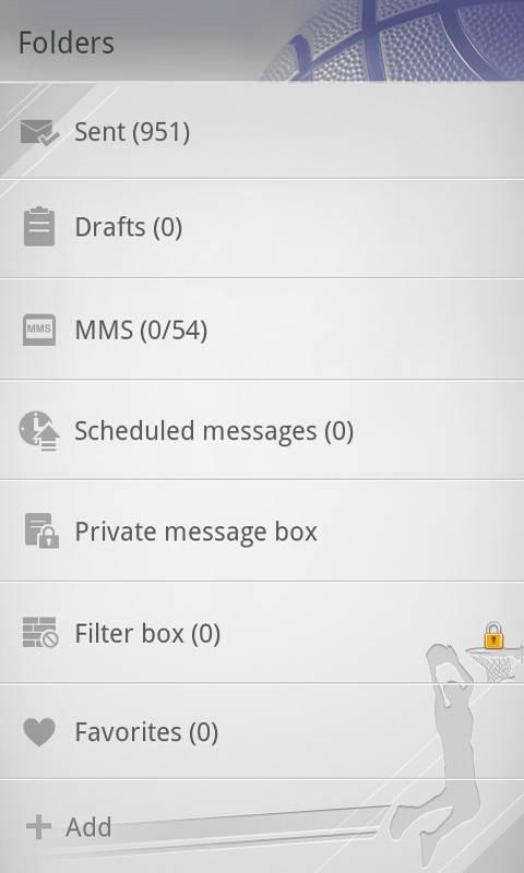GO SMS Pro Basketball theme screenshot #4