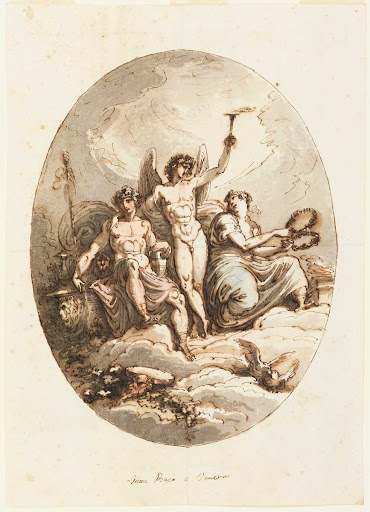 Design for Wall or Ceiling Decoration with Bacchus, Hymen and Venus