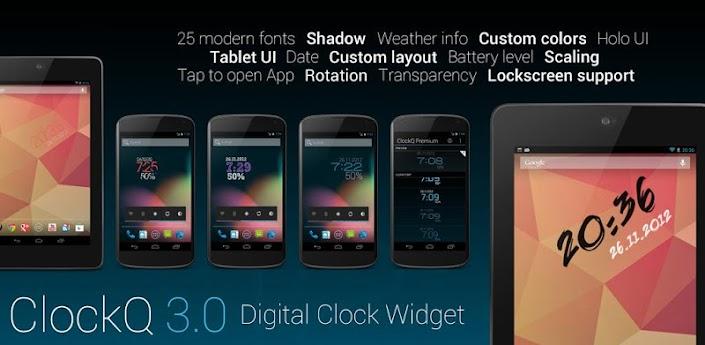 ClockQ Premium es un simple reloj digital cuyo punto fuerte es su variedad en cuánto a opciones de personalización se refiere.Ademas Puedes Colocar un Widget en Cualquier parte del Escritorio de Tu Android y Puedes Elejir entre Una Gran Variedad de Colores y personalizarlo a Tu Gusto          Descargar APK
