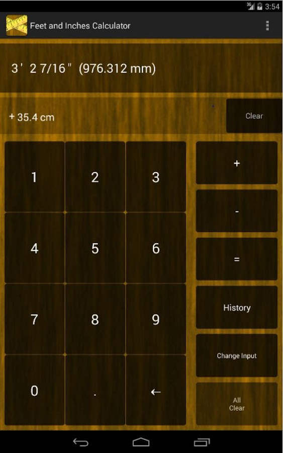 Feet & Inches Calculator- screenshot