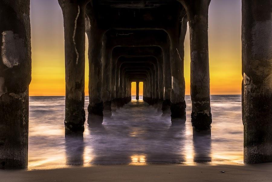 Manhattan Beach Pier by Art LA - Buildings & Architecture Public & Historical ( manhattanbeachca, beachlife, sunset, seascapes, pier )