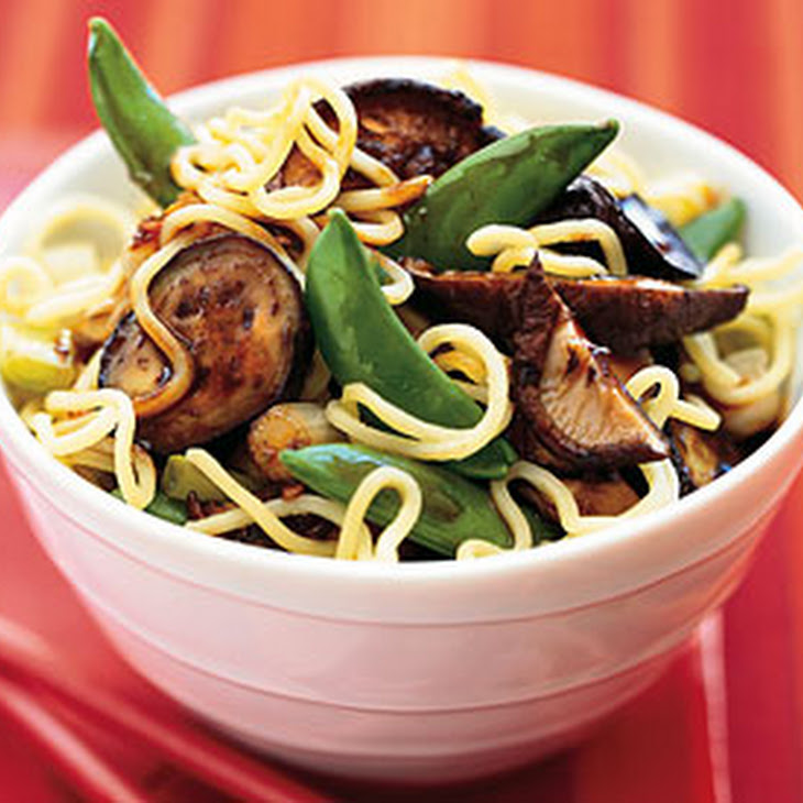 Asian Noodle Salad with Eggplant, Sugar Snap Peas, and Lime Dressing Recipe