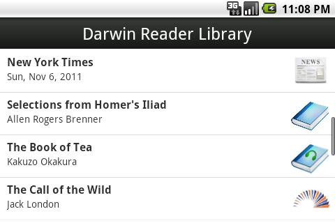 Darwin Reader- screenshot