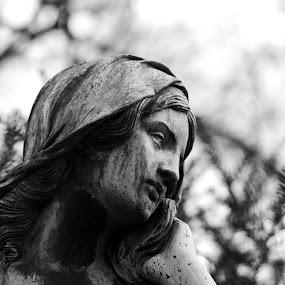 The constant mourner by Christine Schmidt - City,  Street & Park  Cemeteries ( munich, statue, cemetery, leica, historic )