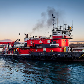 Chugging along early in the morning. by Donna Brittain - Transportation Boats ( water, port, canada, harbour, ontario, seascape, tug boat, morning, oshawa, lake ontario, winter, red, dawn, blue, sunrise, surf,  )