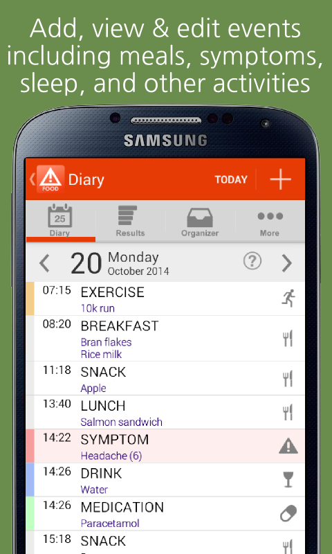 mySymptoms Food Diary- screenshot