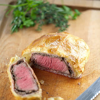 Individual Beef Wellington with Mushroom Sauce.