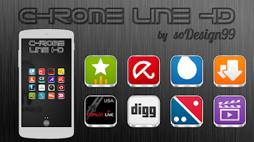 Screenshot of Chrome Line Lite - Icon Pack