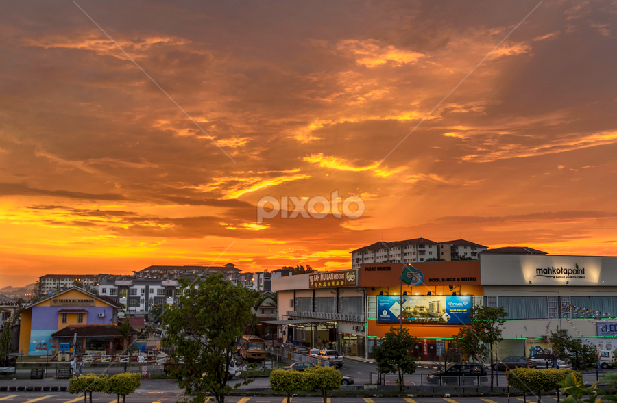 Township under the sunset by Gary Yip - City,  Street & Park  Markets & Shops ( color, shops, sunset, town, dusk )