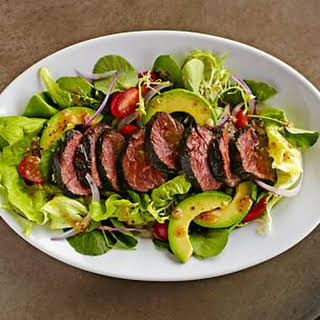 Beef Tenderloin Salad with Tomatoes and Avocado.