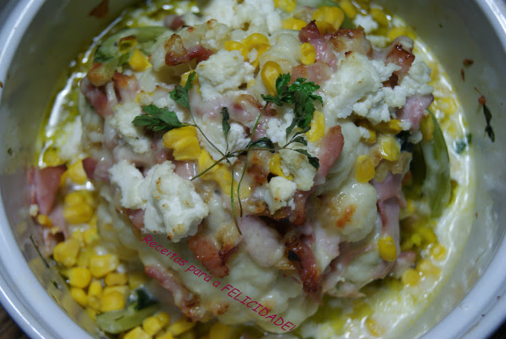 Cauliflower with Bacon and Cottage Cheese Gratin Recipe