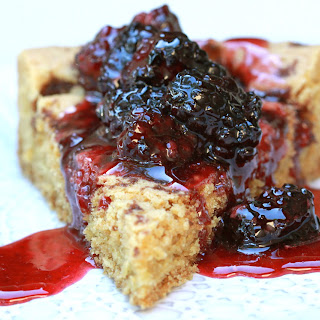 Brown Sugar Cake with Berry Topping.