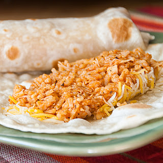 Quick Chicken and Rice Burritos.