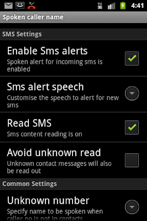 Talking SMS and Caller ID Free 1.16 screenshot 327538