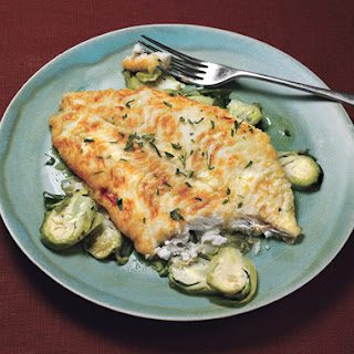 Petrale Sole with Lemon-Shallot Brussels Sprouts.