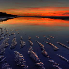 Sand texture by Julija Moroza Broberg - Landscapes Sunsets & Sunrises ( sand, creation, skyline, shallow, texture, horizon, latvia, wateer, mirror, jurmala, nature, sunset, perspective, wet, low )