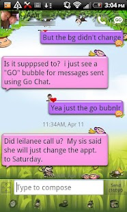 Pink Monkey theme GO SMS PRO- screenshot thumbnail