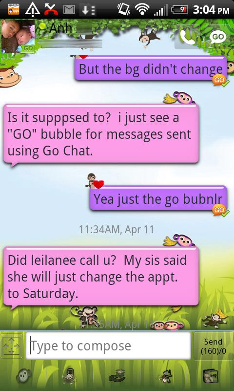 Pink Monkey theme GO SMS PRO- screenshot