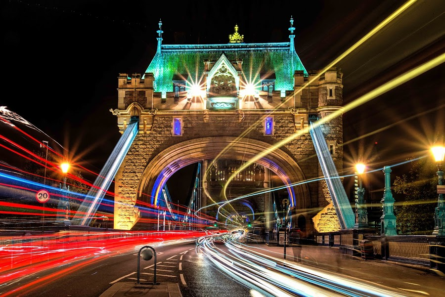Busy Tower Bridge by Lukas Proszowski - City,  Street & Park  Night ( london, color, cars, tower bridge, long exposure, , the mood factory, mood, lighting, sassy, pink, colored, colorful, scenic, artificial, lights, scents, senses, hot pink, confident, fun, mood factory , city at night, street at night, park at night, nightlife, night life, nighttime in the city )