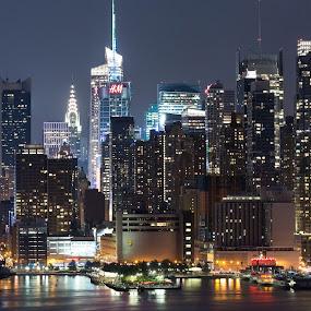 New York Skyline by Ronald Susaya - Uncategorized All Uncategorized ( skyline, skyscrapers, midtwon, new york city, glow, usa,  )